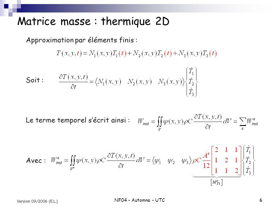 Matrice masse : thermique 2D
