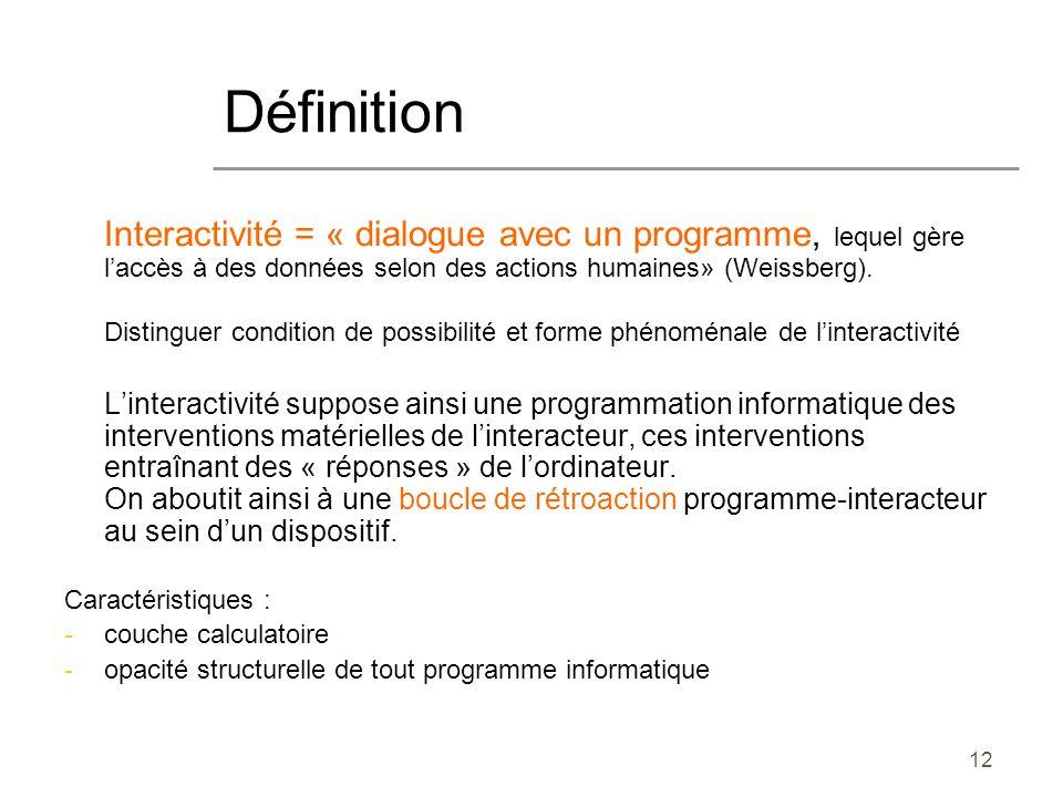 Définition Interactivité = « dialogue avec un programme, lequel gère l'accès à des données selon des actions humaines» (Weissberg).