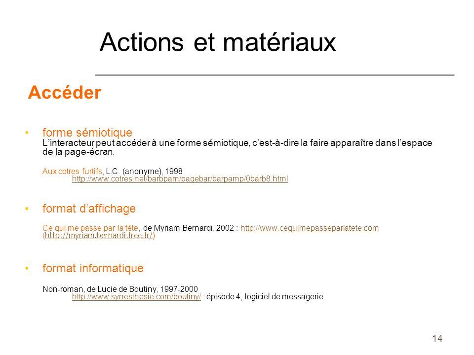 Actions et matériaux Accéder