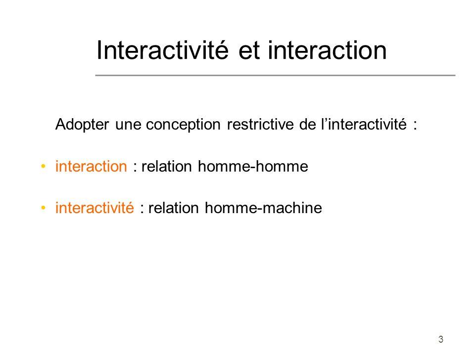 Interactivité et interaction