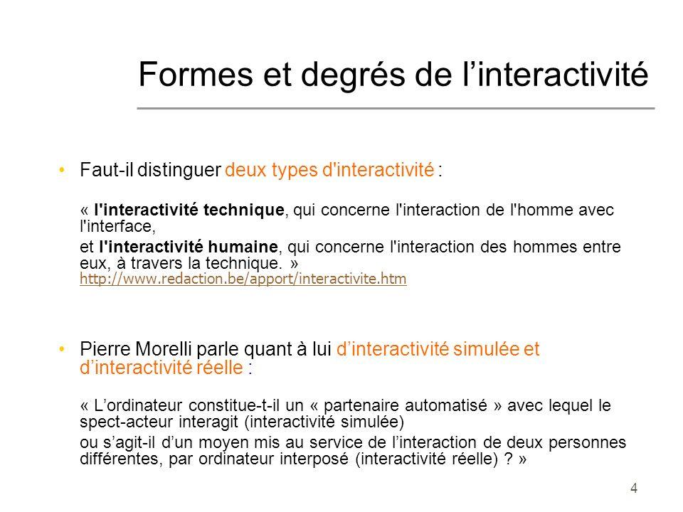 Formes et degrés de l'interactivité