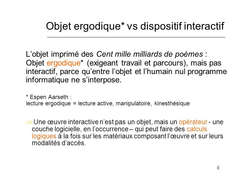 Objet ergodique* vs dispositif interactif