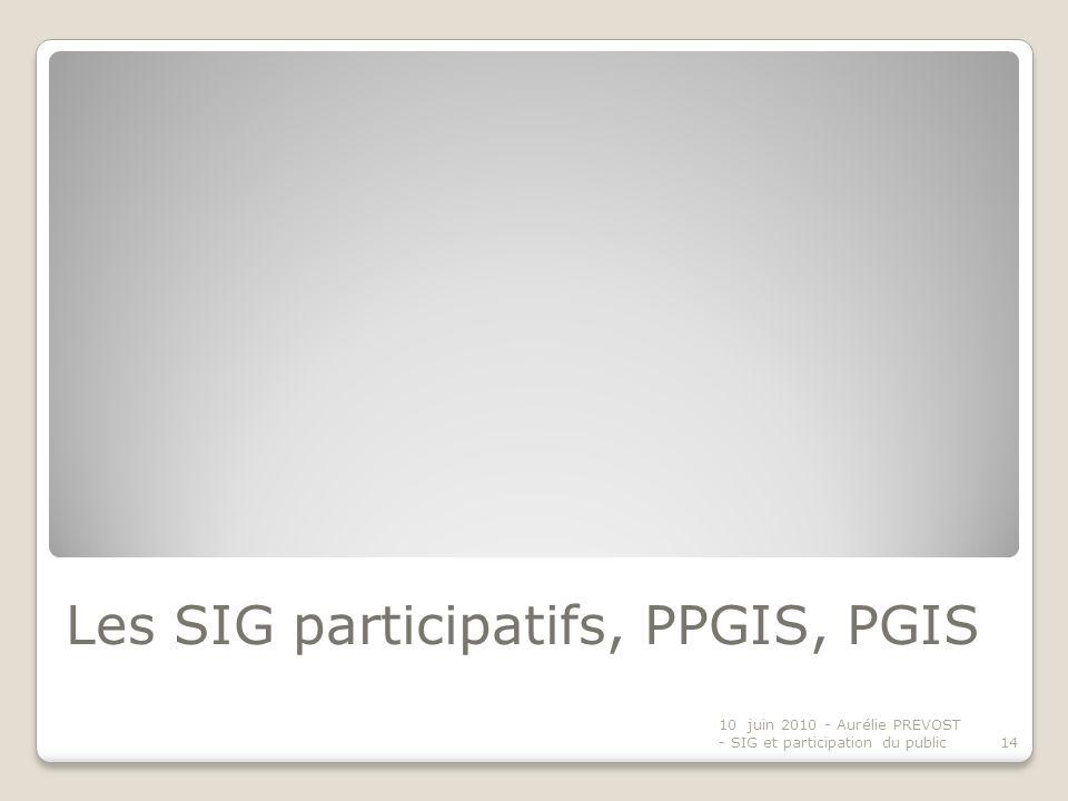 Les SIG participatifs, PPGIS, PGIS