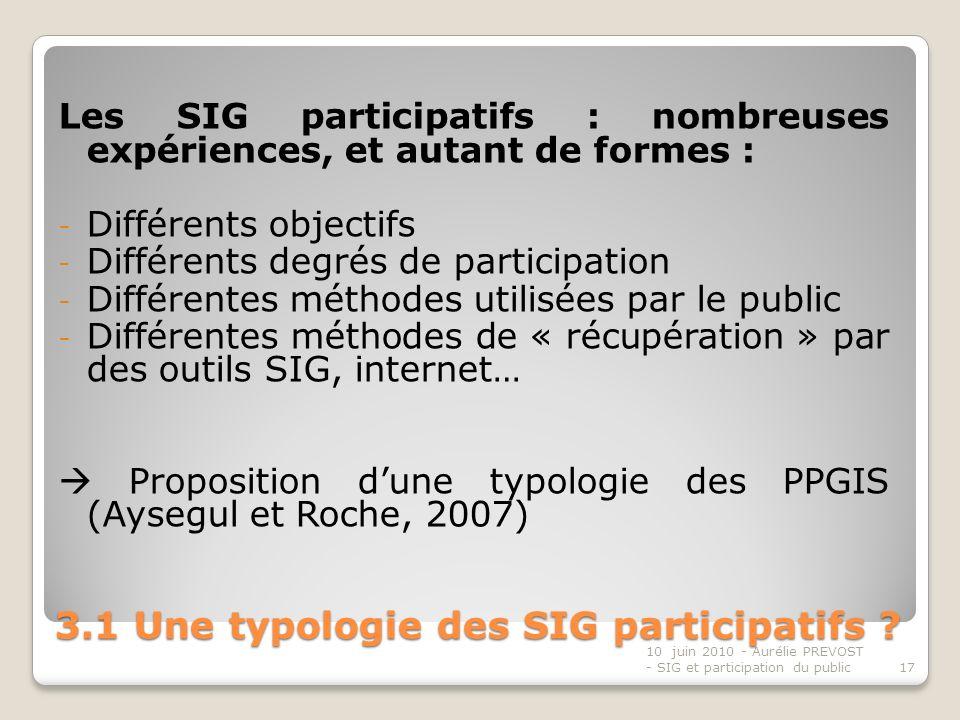 3.1 Une typologie des SIG participatifs