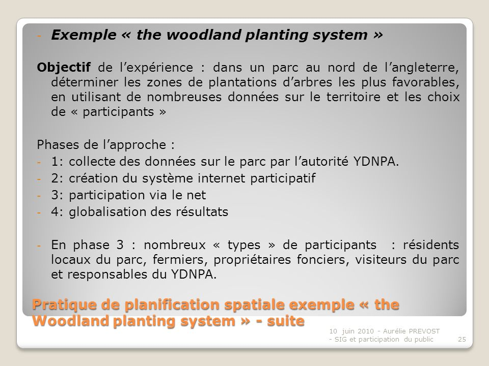Exemple « the woodland planting system »
