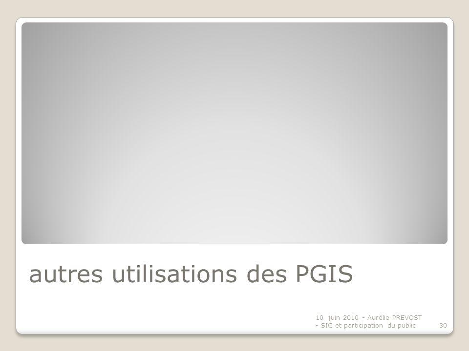 autres utilisations des PGIS