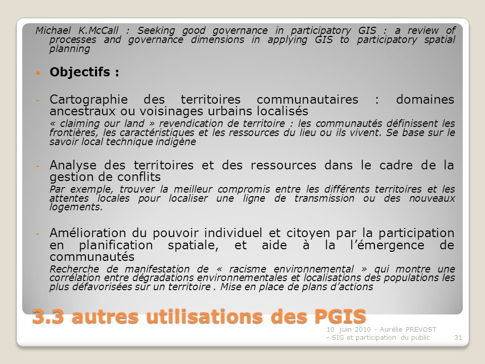 3.3 autres utilisations des PGIS