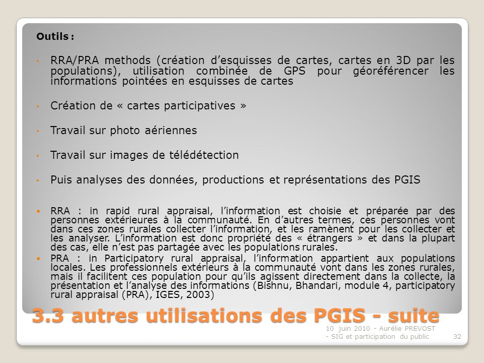 3.3 autres utilisations des PGIS - suite