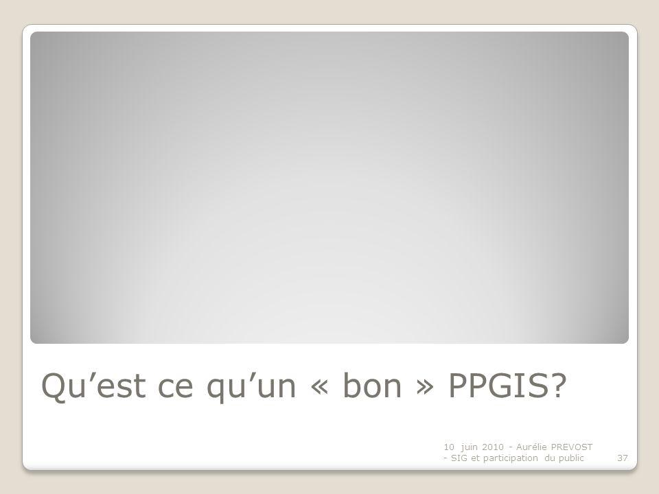 Qu'est ce qu'un « bon » PPGIS