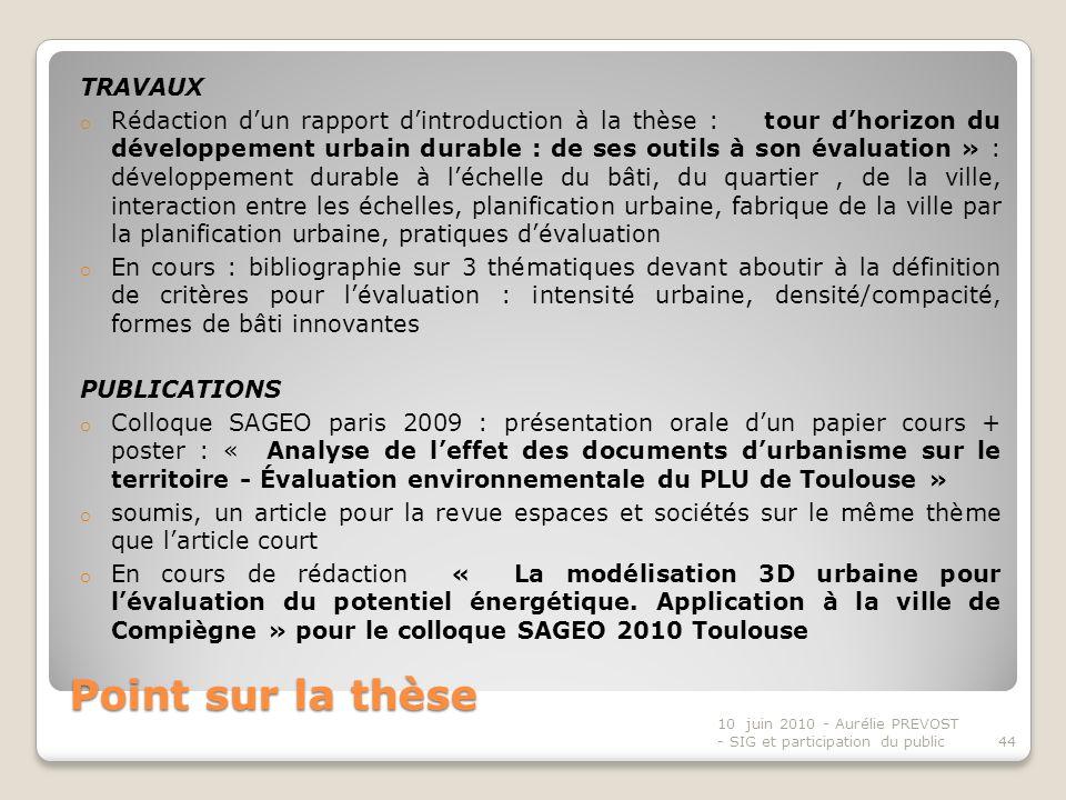 Point sur la thèse TRAVAUX