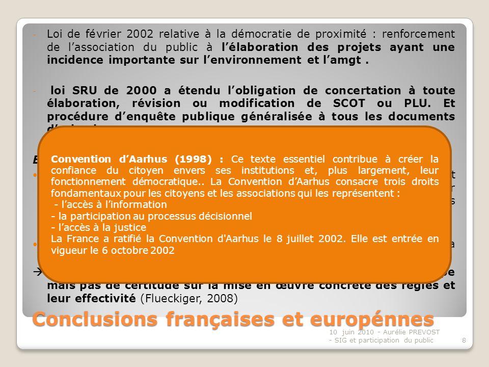Conclusions françaises et europénnes