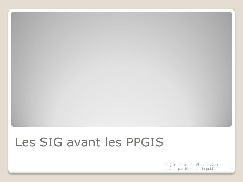 Les SIG avant les PPGIS 10 juin 2010 - Aurélie PREVOST - SIG et participation du public