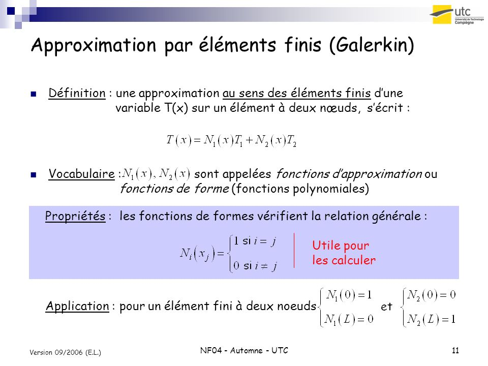 Approximation par éléments finis (Galerkin)