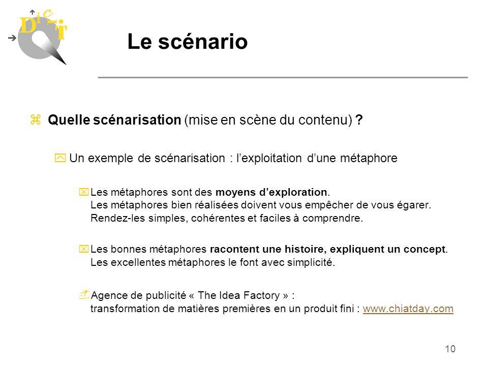 Le scénario Quelle scénarisation (mise en scène du contenu)
