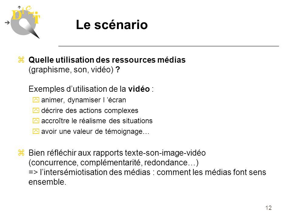 Le scénario Quelle utilisation des ressources médias (graphisme, son, vidéo) Exemples d'utilisation de la vidéo :