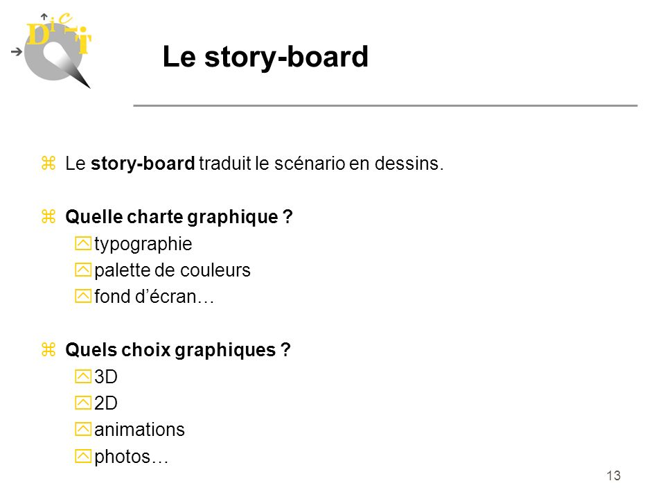 Le story-board Le story-board traduit le scénario en dessins.