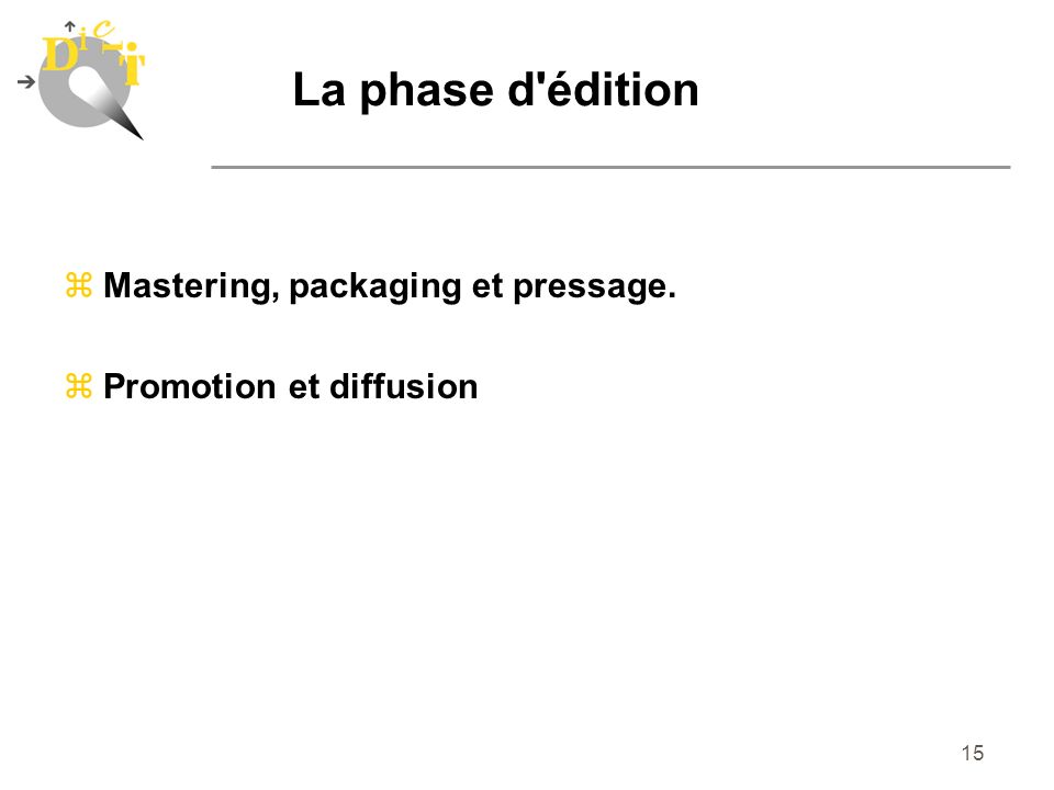 La phase d édition Mastering, packaging et pressage.