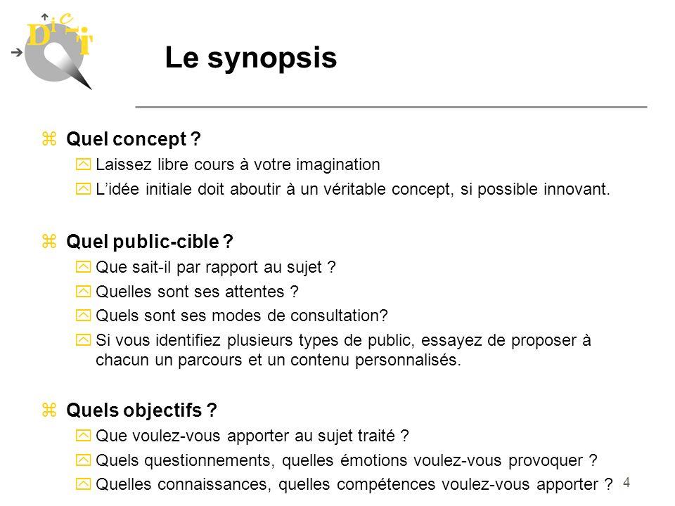 Le synopsis Quel concept Quel public-cible Quels objectifs