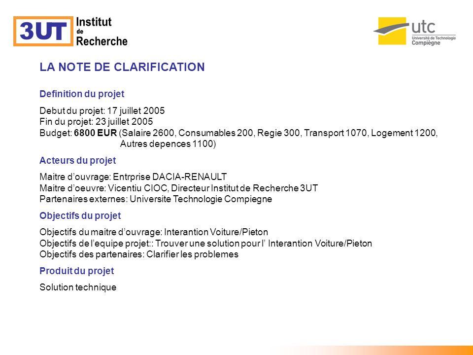 Institut 3U T de Recherche LA NOTE DE CLARIFICATION