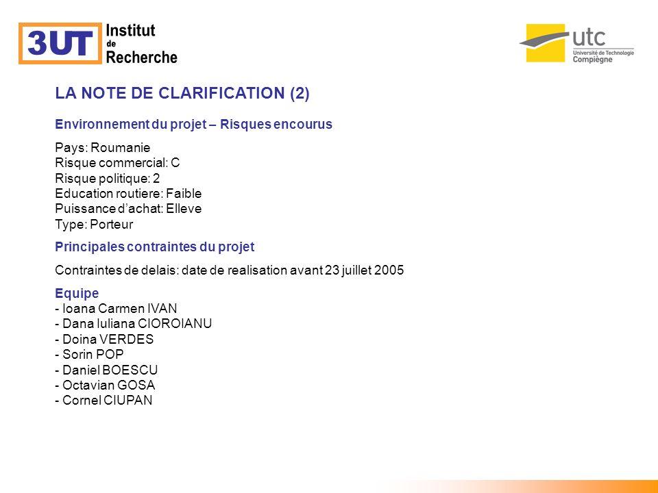Institut 3U T de Recherche LA NOTE DE CLARIFICATION (2)