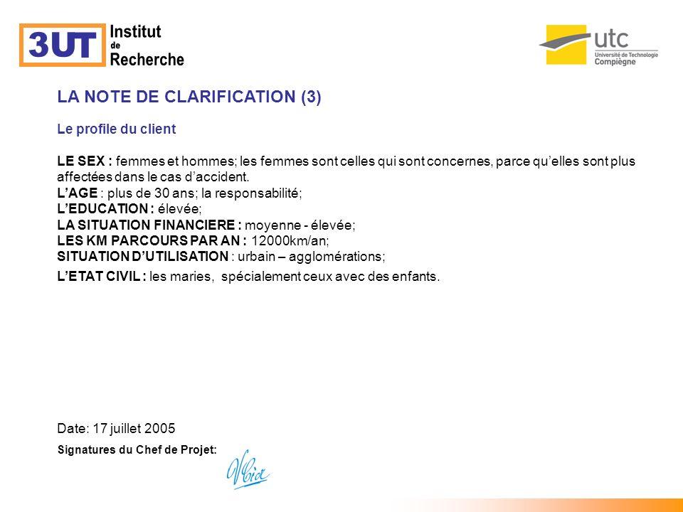Institut 3U T de Recherche LA NOTE DE CLARIFICATION (3)