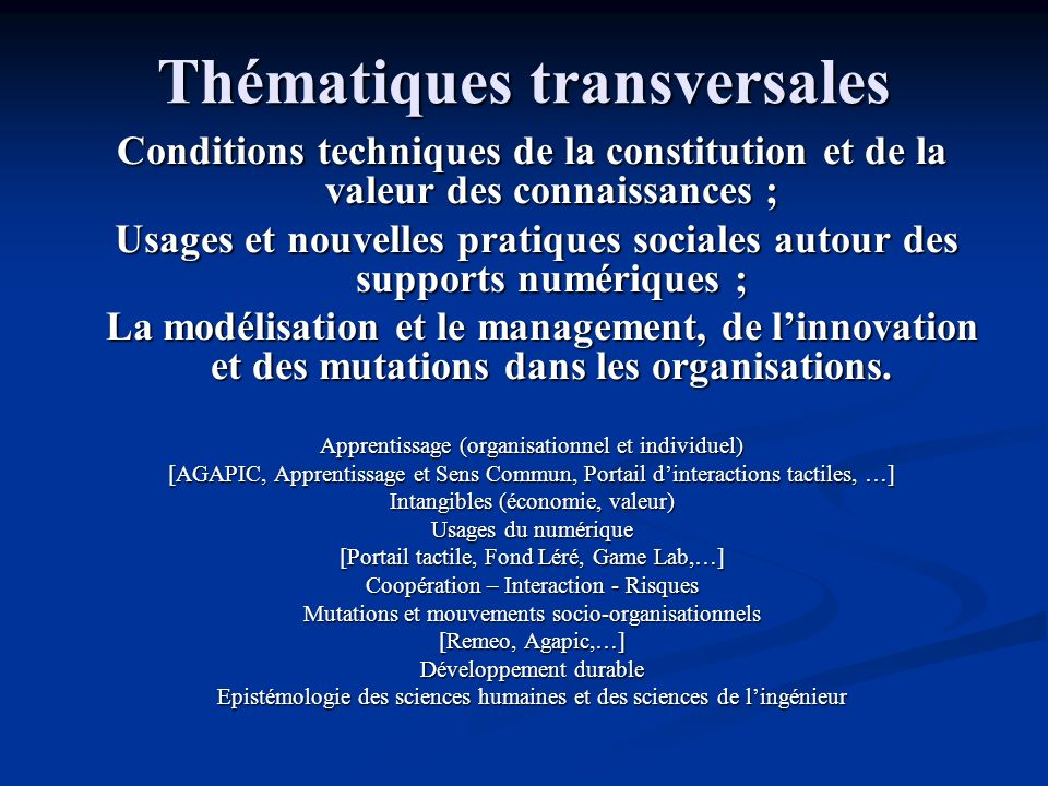 Thématiques transversales