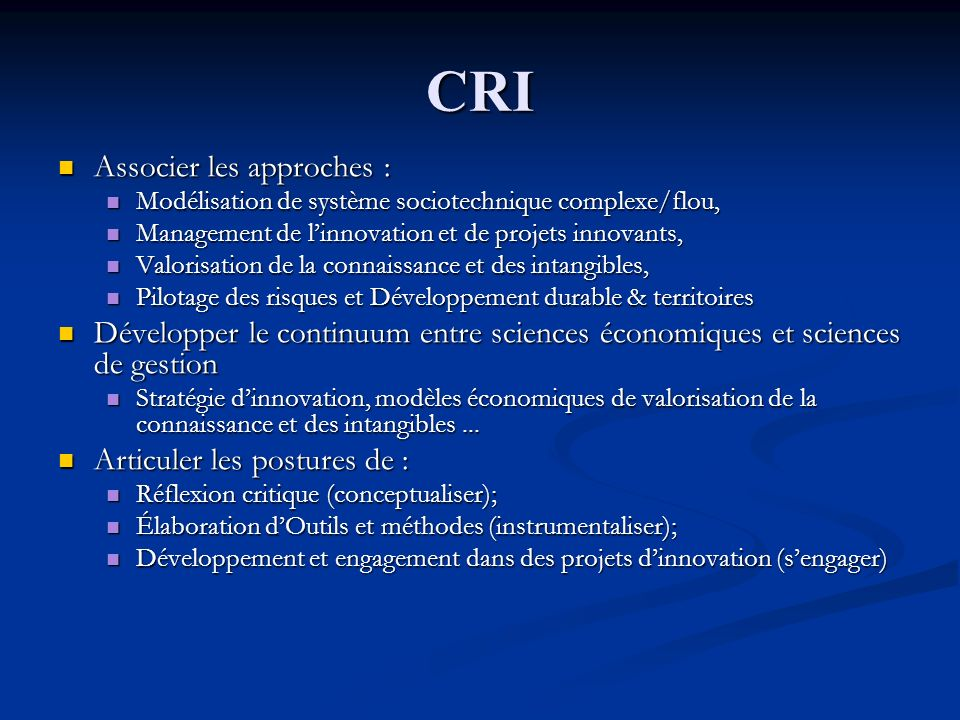 CRI Associer les approches :