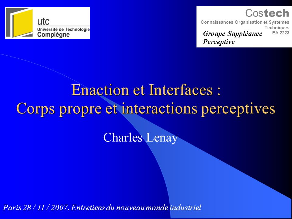 Enaction et Interfaces : Corps propre et interactions perceptives