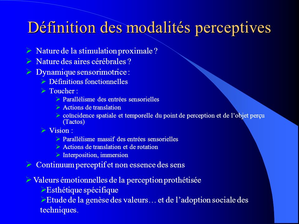 Définition des modalités perceptives