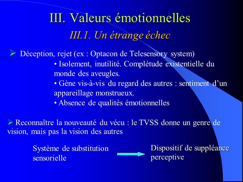 III. Valeurs émotionnelles III.1. Un étrange échec