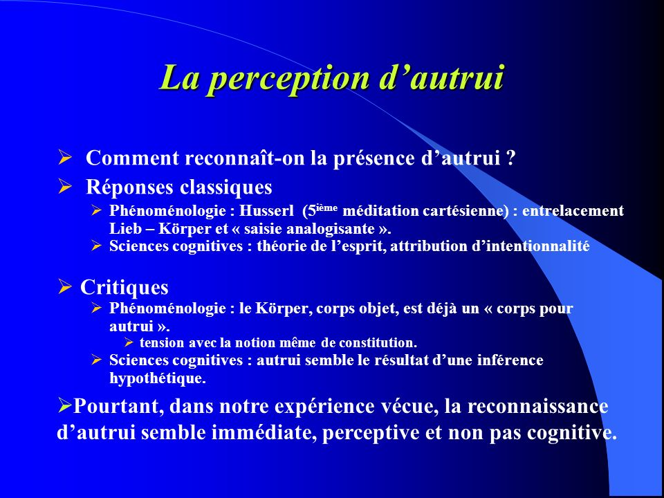 La perception d'autrui