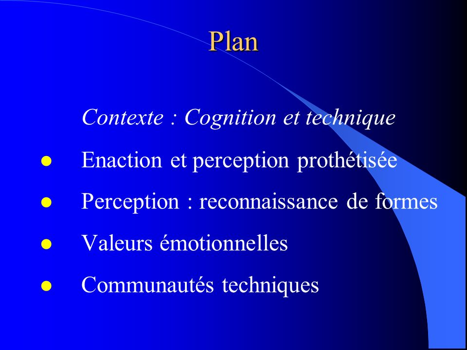 Plan Contexte : Cognition et technique