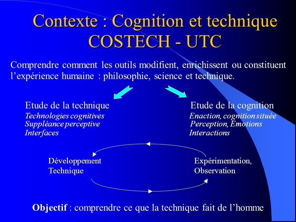 Contexte : Cognition et technique COSTECH - UTC
