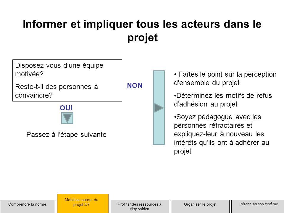 Informer et impliquer tous les acteurs dans le projet