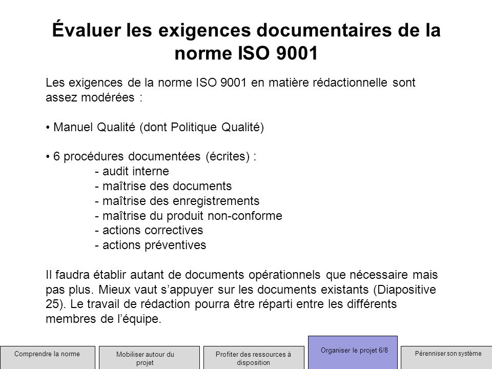 Évaluer les exigences documentaires de la norme ISO 9001