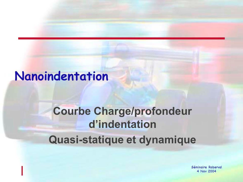 Courbe Charge/profondeur d'indentation Quasi-statique et dynamique