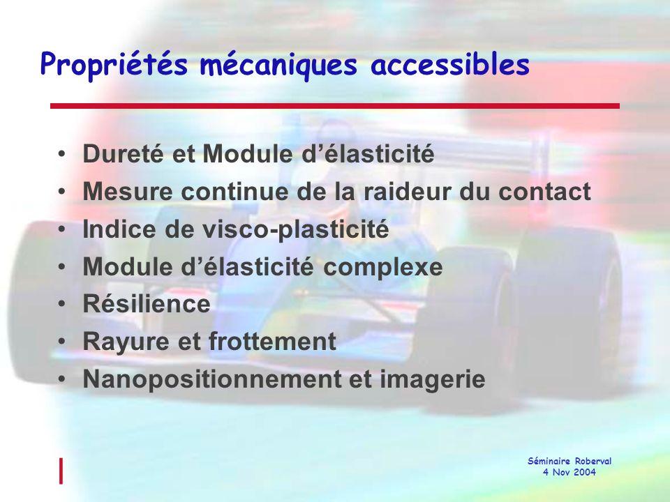 Propriétés mécaniques accessibles