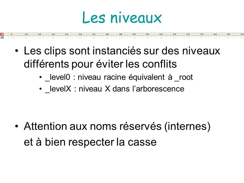 Les niveaux Les clips sont instanciés sur des niveaux différents pour éviter les conflits. _level0 : niveau racine équivalent à _root.