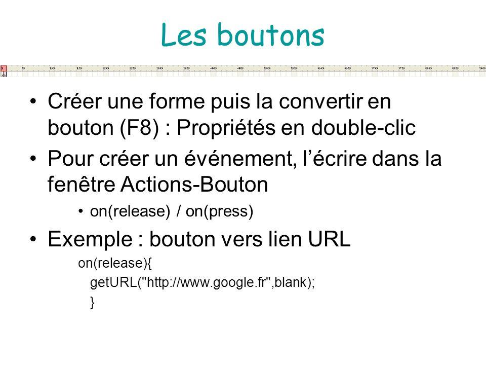 Les boutonsCréer une forme puis la convertir en bouton (F8) : Propriétés en double-clic.