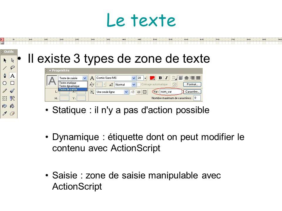 Le texte Il existe 3 types de zone de texte
