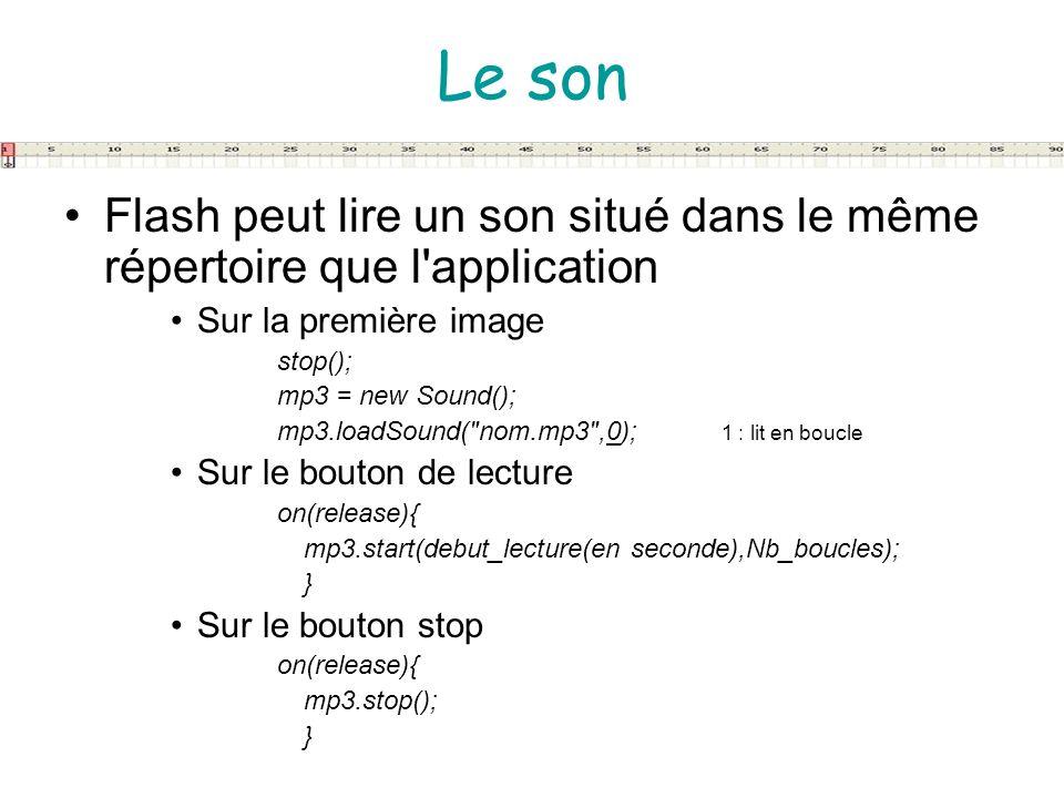 Le son Flash peut lire un son situé dans le même répertoire que l application. Sur la première image.