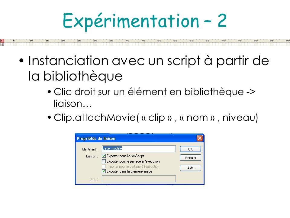 Expérimentation – 2 Instanciation avec un script à partir de la bibliothèque. Clic droit sur un élément en bibliothèque -> liaison…