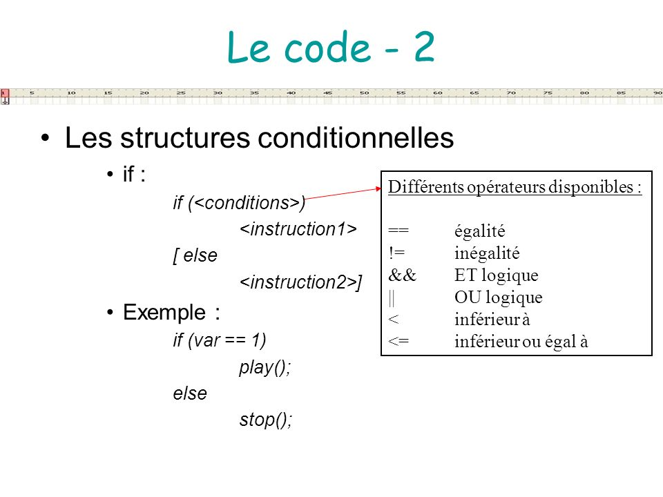 Le code - 2 Les structures conditionnelles if : Exemple :