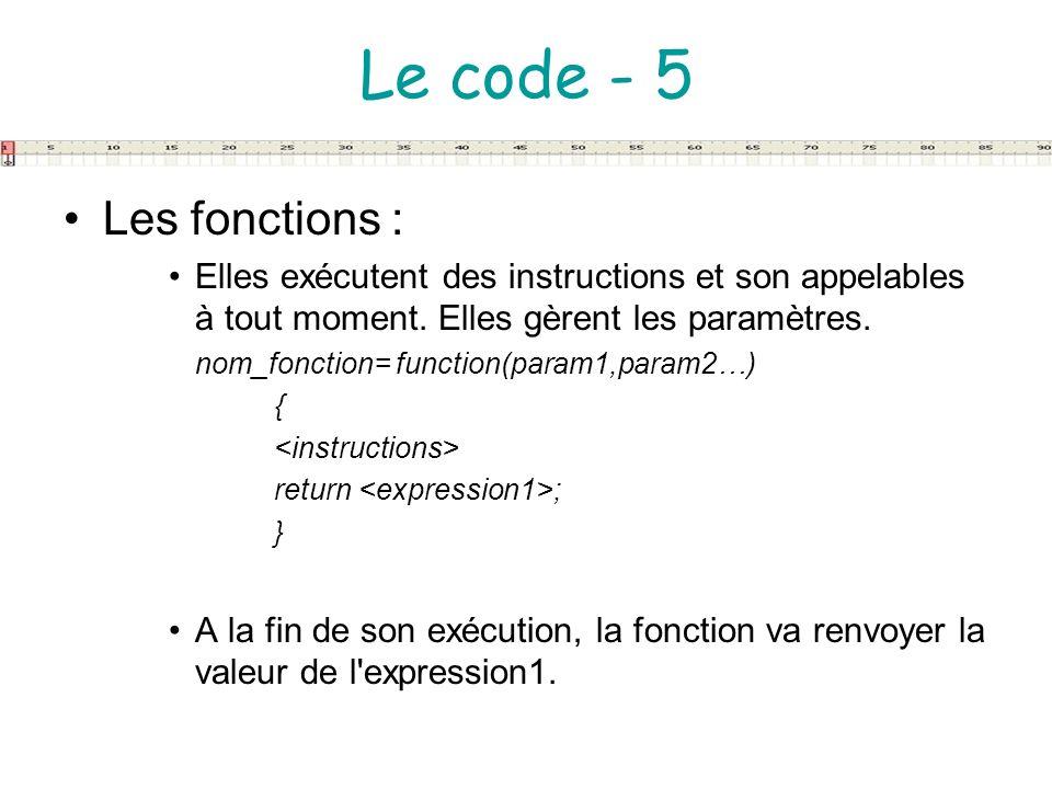 Le code - 5 Les fonctions :