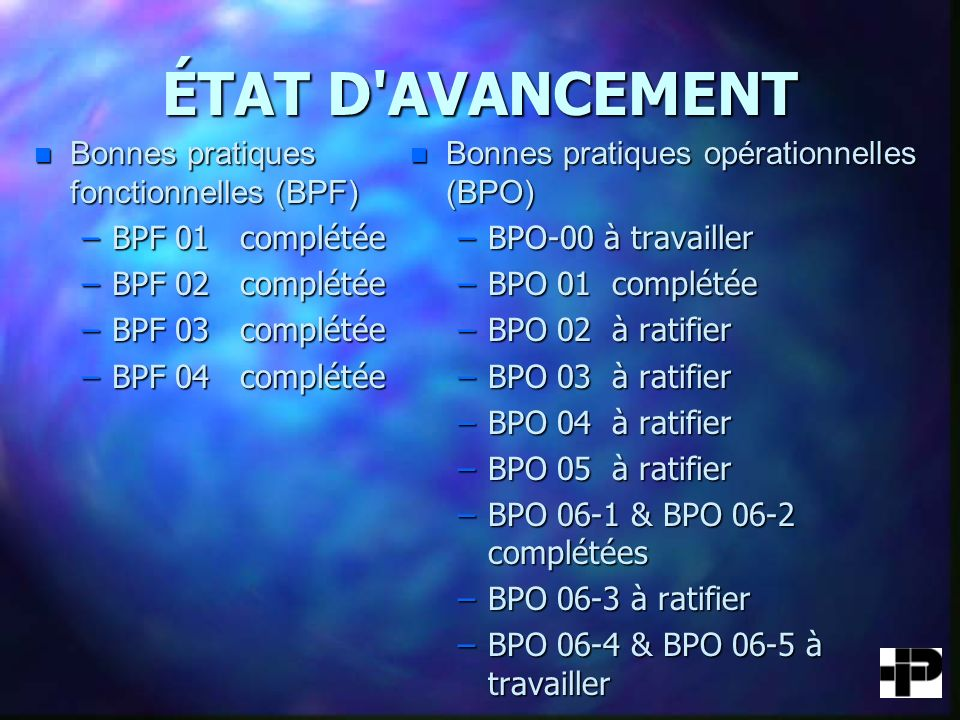 ÉTAT D AVANCEMENT Bonnes pratiques fonctionnelles (BPF)