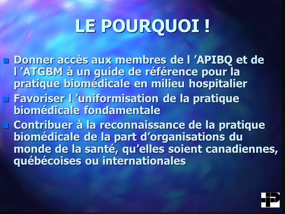 LE POURQUOI ! Donner accès aux membres de l 'APIBQ et de l 'ATGBM à un guide de référence pour la pratique biomédicale en milieu hospitalier.