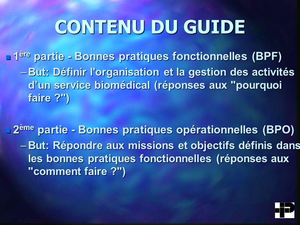 CONTENU DU GUIDE 1ère partie - Bonnes pratiques fonctionnelles (BPF)