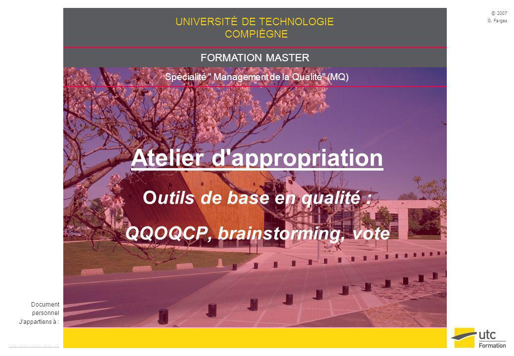 Atelier d appropriation Outils de base en qualité : QQOQCP, brainstorming, vote