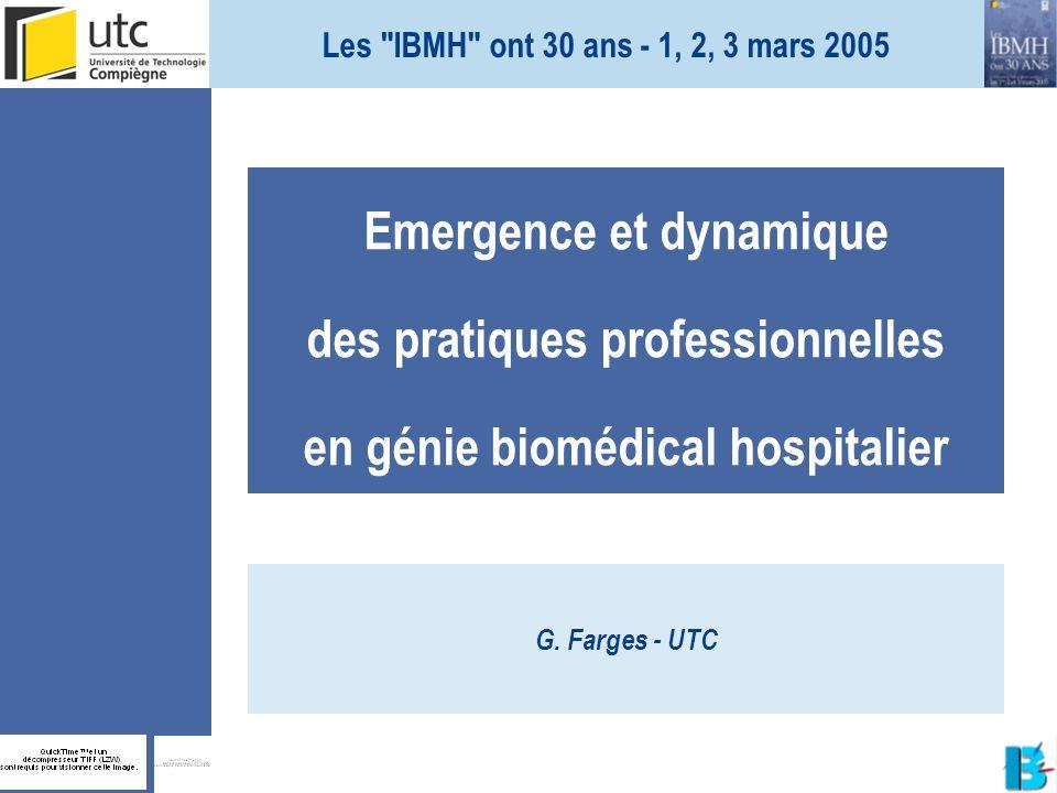 Les IBMH ont 30 ans - 1, 2, 3 mars 2005 Emergence et dynamique des pratiques professionnelles en génie biomédical hospitalier.