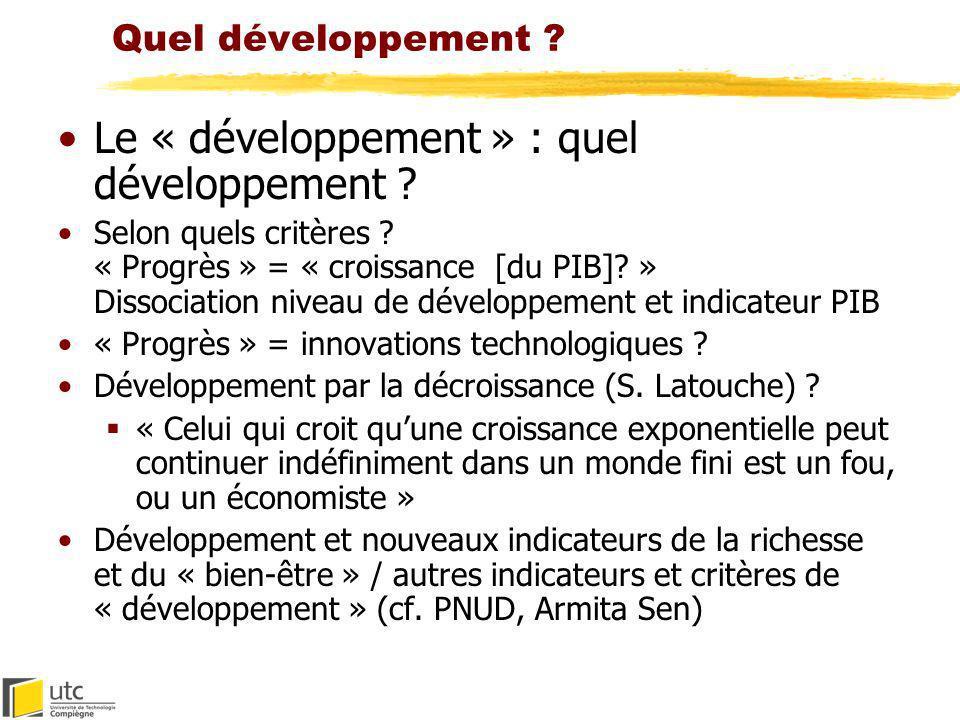 Le « développement » : quel développement